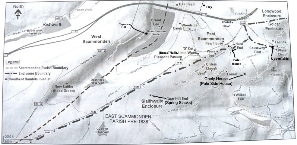 East & West Scammonden Map