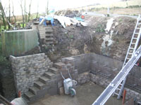 Retaining wall and steps taking shape