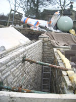 Side view of retaining wall