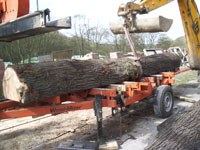 Mobile saw used to cut oak beams